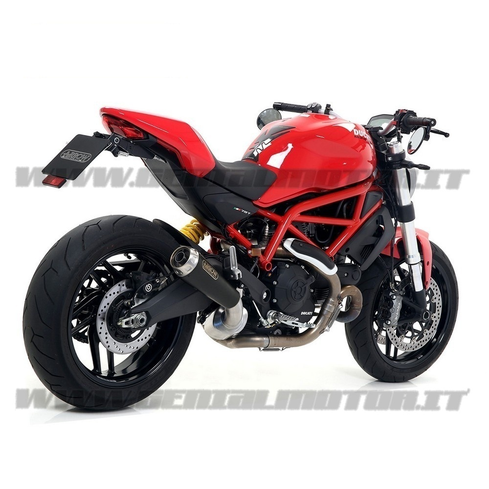 71876PRN + 71673MI Exhaust + Link Arrow Pro Race Black Ducati Monster 797 2017 > 2020