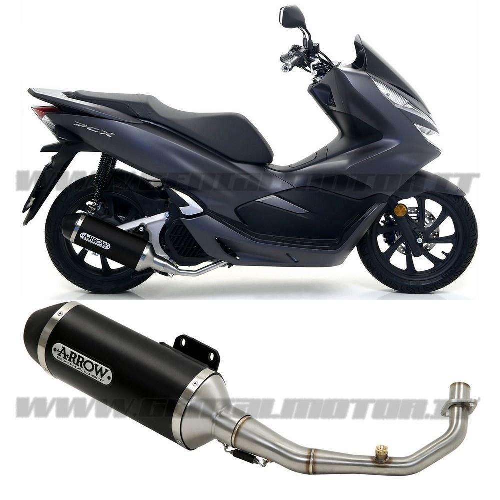Full Exhaust Kat Arrow Urban Aluminium Black Black Honda Pcx 125