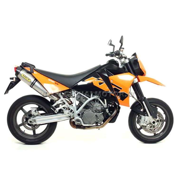 71414MI + 72613PK Exhausts + Link Pipe Arrow Race Tech Titanium Ktm 950 Sm 2006 > 2009