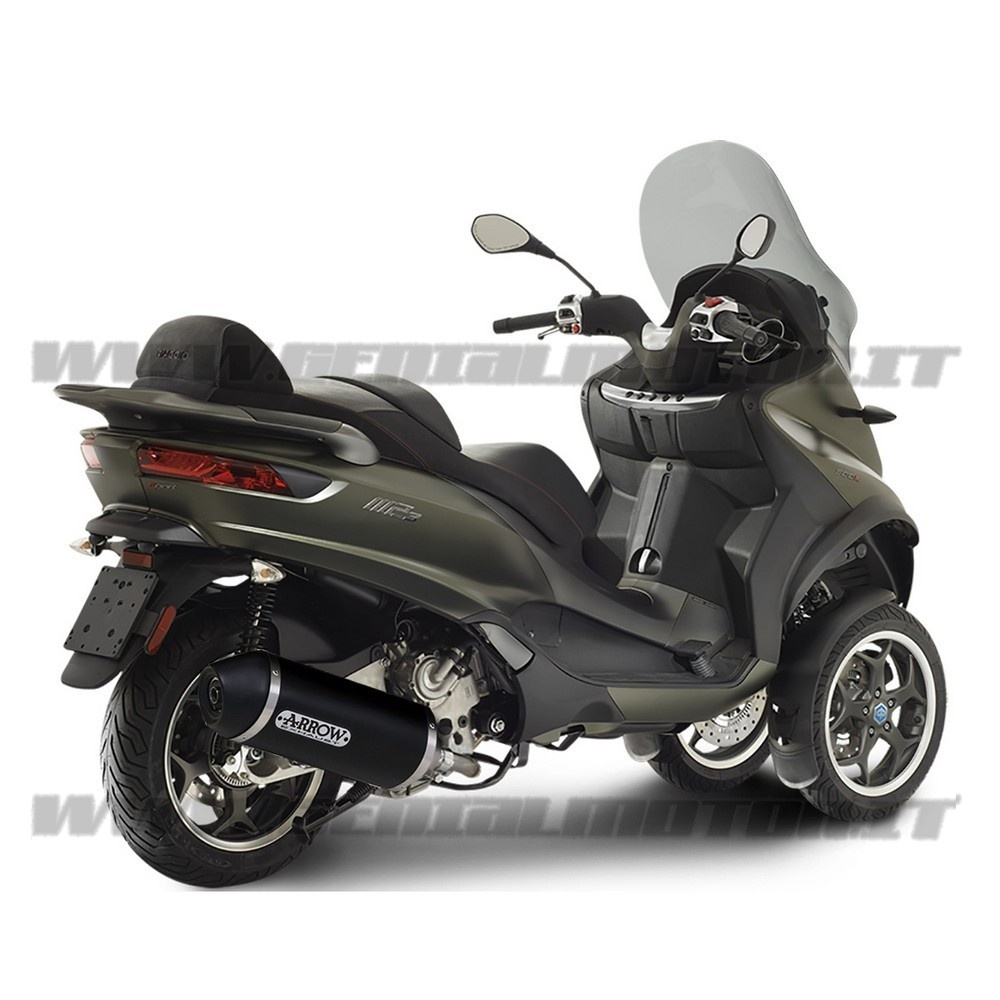 73512ANN + 73012KZ Exhaust + Link Kat Kat Arrow Urban Alu B N Piaggio Mp3 500 Lt 2017 > 2020