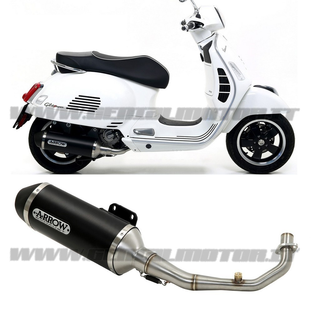 53525ANN + 53072MI Full Exhaust Arrow Urban Aluminium Black Piaggio Vespa Gts 300 2017 > 2020