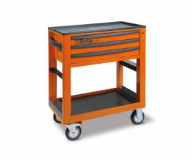 Orange BETA service trolley with 3 drawers