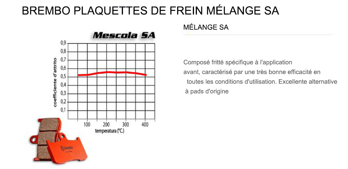 Plaquettes Brembo Frein Anterieures SA pour Alfer VRE - 4 STROKE 125 2000 > 2002