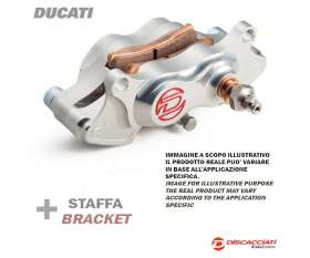 Rear Brake Caliper Kit DISCACCIATI 2 Pistons + Support and Spacer Ducati Paul Smart/Sport Classic Forged Silver