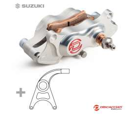 Rear Brake Caliper Kit DISCACCIATI 4 Pistons Ø22 + Support  Anodised Silver Suzuki GSXR 1000 2007 > 2011