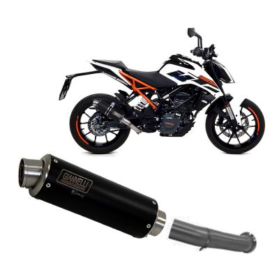 73590XP + 71189IN Terminale Sc Giannelli XPro Inox Nero + Raccordo No Cat Ktm DUKE 125 2017 > 2019
