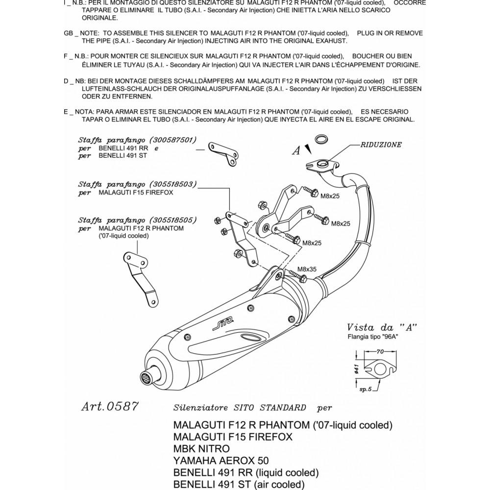 0587 Pot D'Echappement Complete Leovince Sito Acier Malaguti F15 Firefox 1996 > 1998