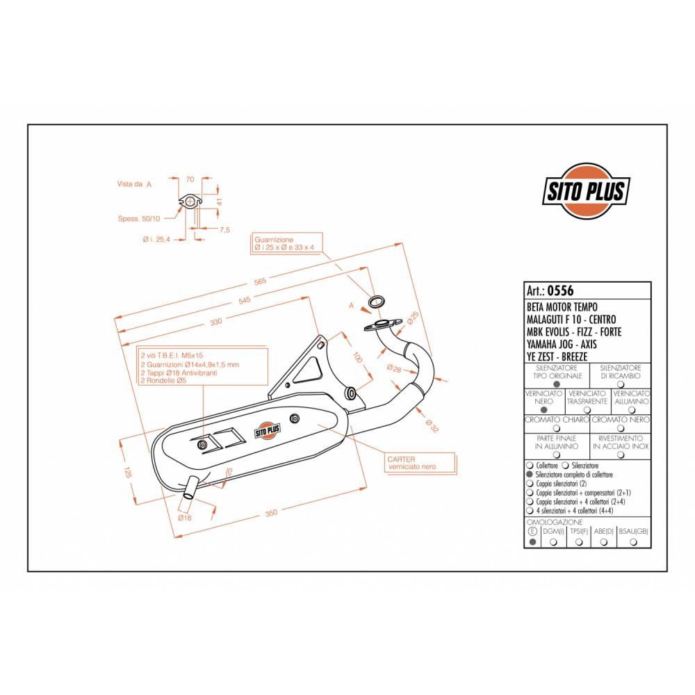 0556 Pot D'Echappement Complete Leovince Sitoplus Acier Mbk Fizz 1994 > 1997