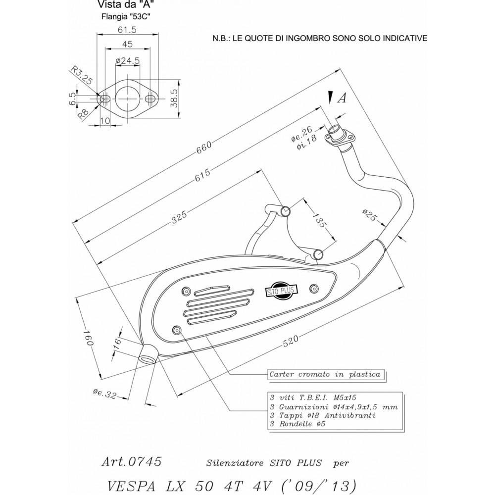 0745 Pot D'Echappement Complete Leovince Acier Vespa Lx 50 4T 4 Valves 2009 > 2014