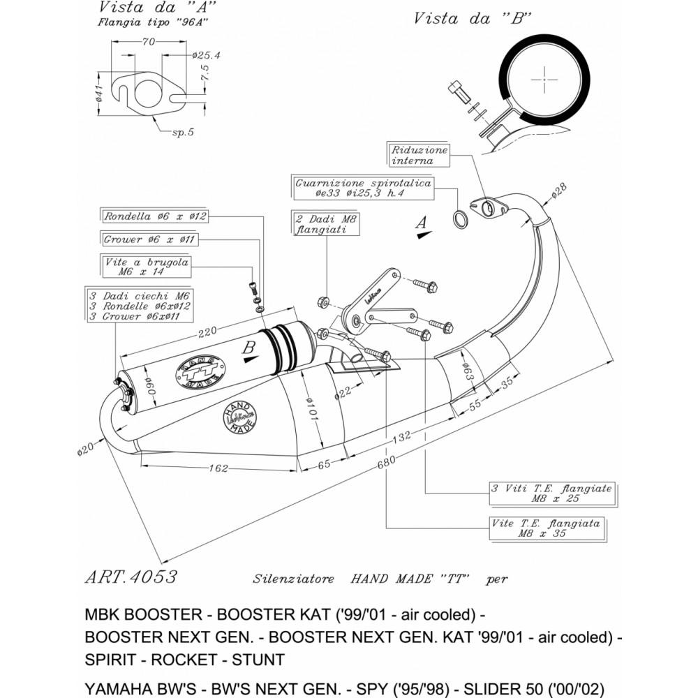 4053B Pot D'Echappement Complete Leovince Hand Made Tt Noir Alu Mbk Spirit 1999 > 2002