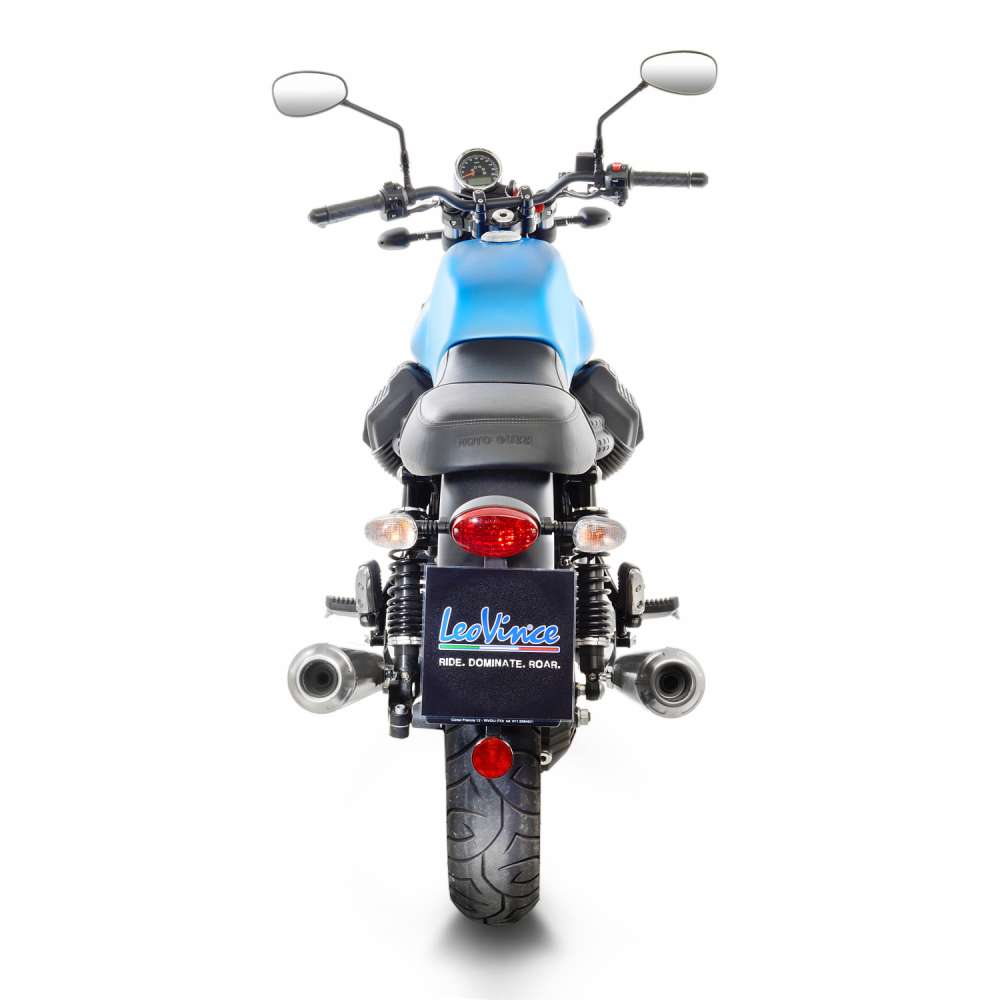 15000K 2 Pots D'Echappement Leovince Classic Racer Kat Moto Guzzi V7 III 2017 > 2021
