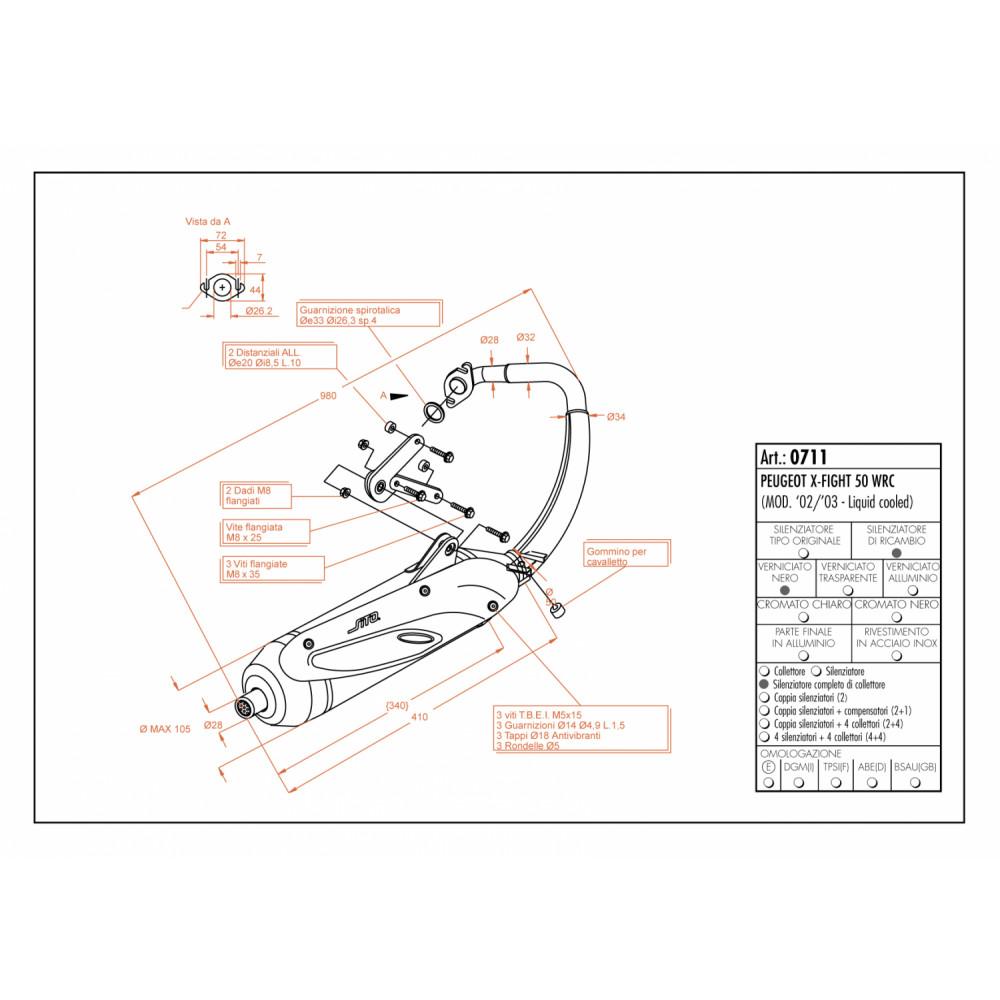 0711 Echappement Complete Leovince Sito Acier Peugeot X Fight 50 Wrc 2002 > 2003