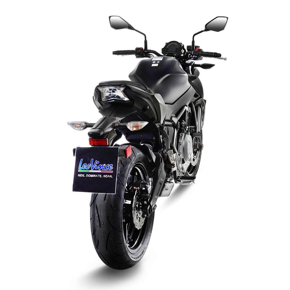 14170 Pot D'Echappement Complete Leovince Underbody Acier Kawasaki Z 650 2017 > 2020