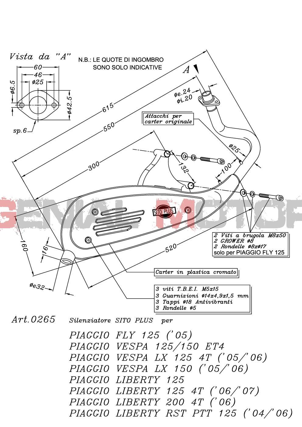 0265 Pot D'Echappement Complete Leovince Sitoplus Acier Piaggio Liberty 2000 > 2005