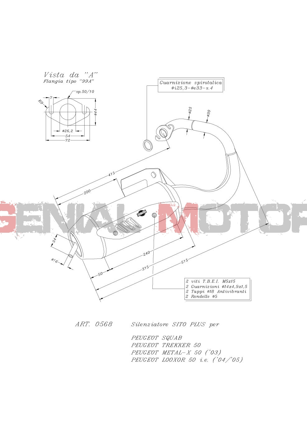 0568 Pot D'Echappement Complete Leovince Sitoplus Acier Peugeot Squab 1995 > 1997