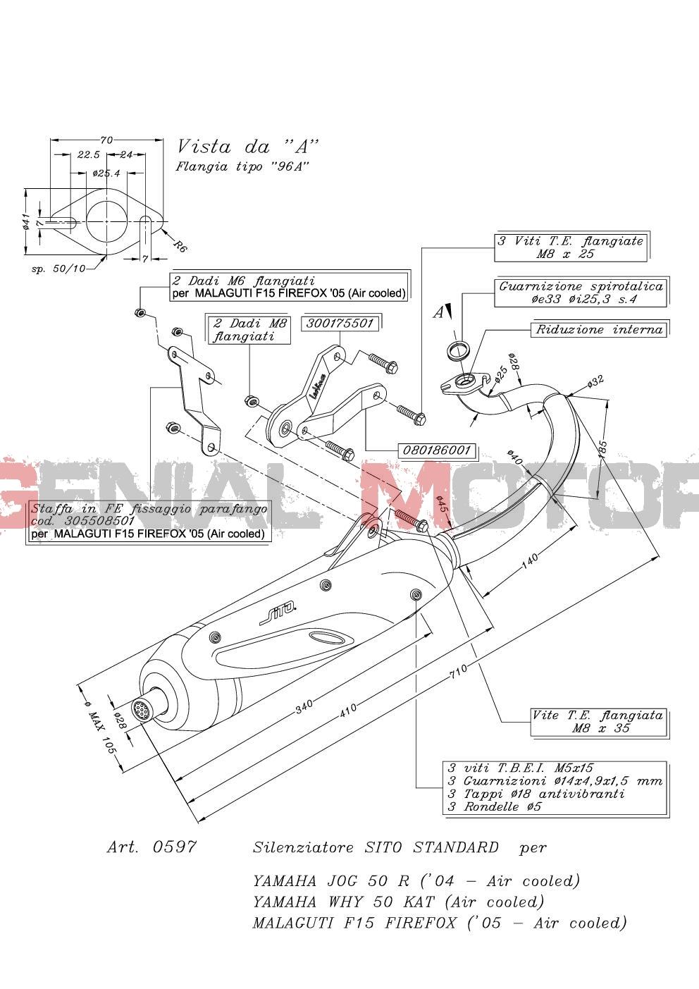 0597 Pot D'Echappement Complete Leovince Sito Acier Yamaha Why 50 Kat Air 1998 > 2013