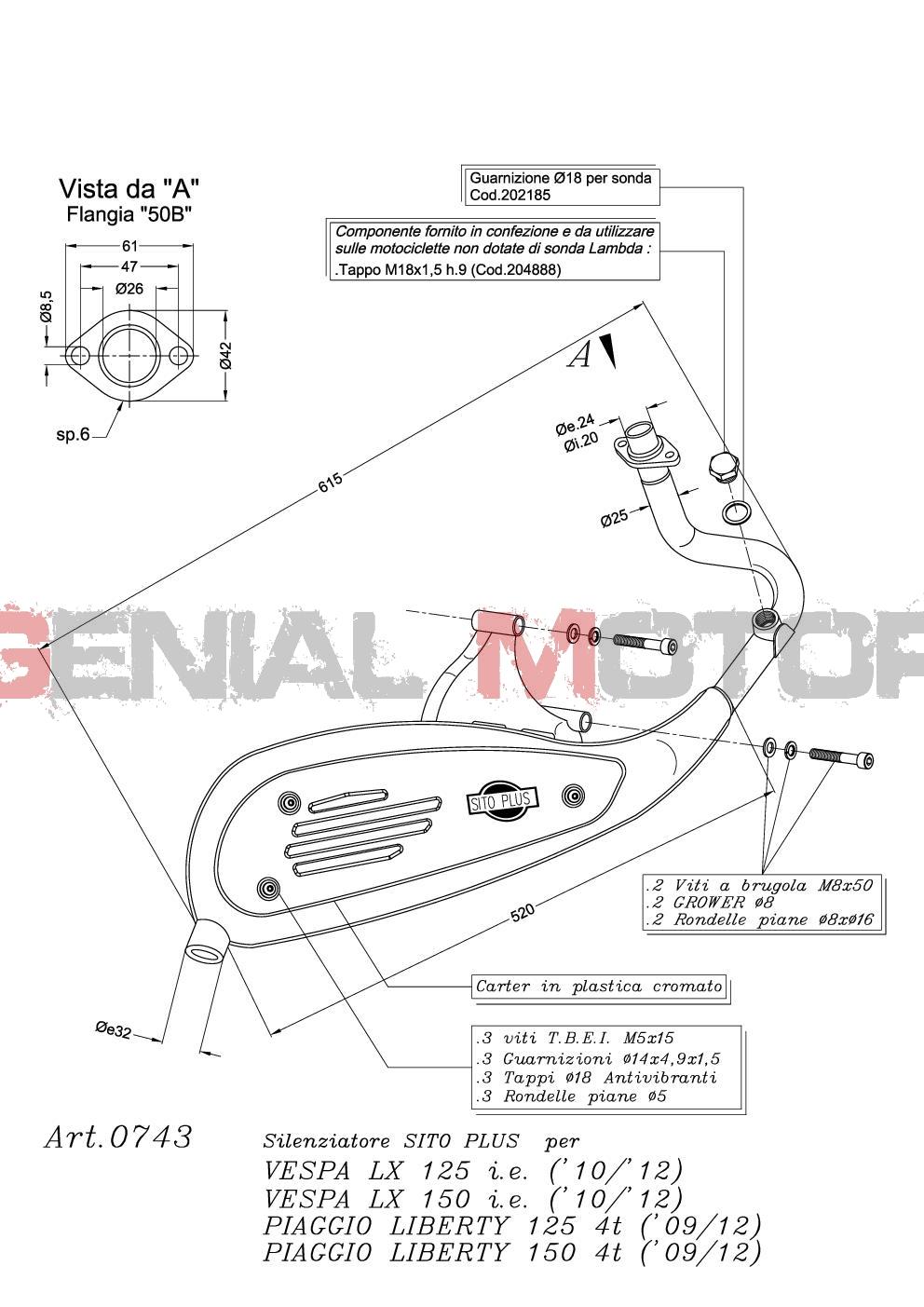 0743 Pot D'Echappement Complete Leovince Vespa Vespa Lx 125 I E 4 Stroke 2009 > 2012
