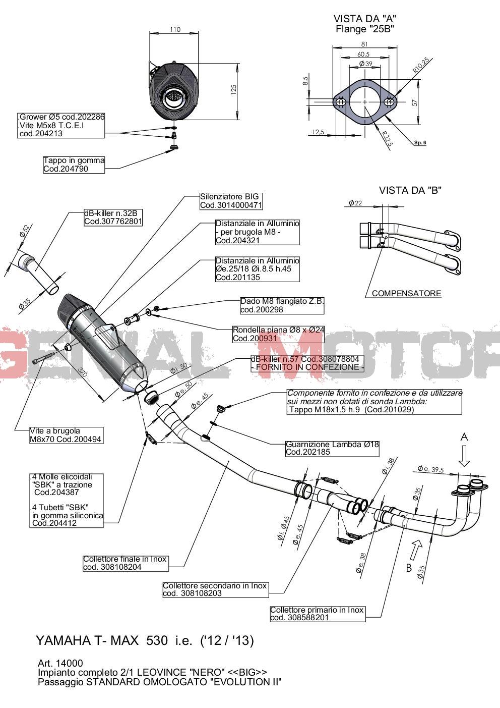14000 Pot D'Echappement Complete Leovince Noir Acier Yamaha T Max 530 2012 > 2016