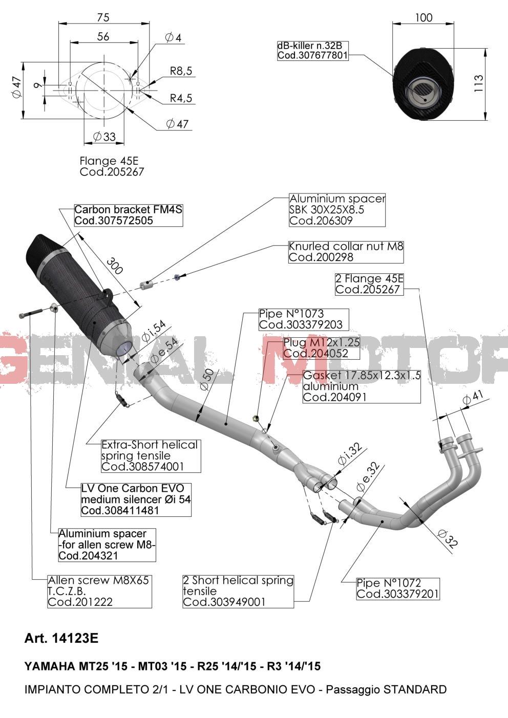 14123E Pot D'Echappement Complete Leovince Lv One Evo Carbone Yamaha Mt 25 2015 > 2020