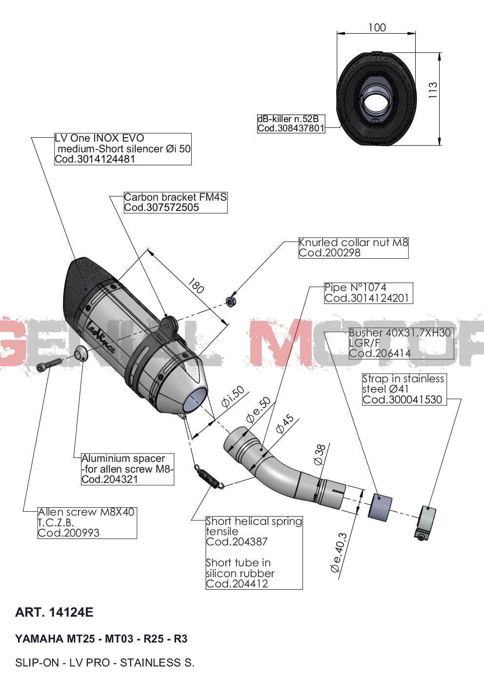 14124E Pot D'Echappement Lv Pro Acier Yamaha Yzf R25 2014 > 2021