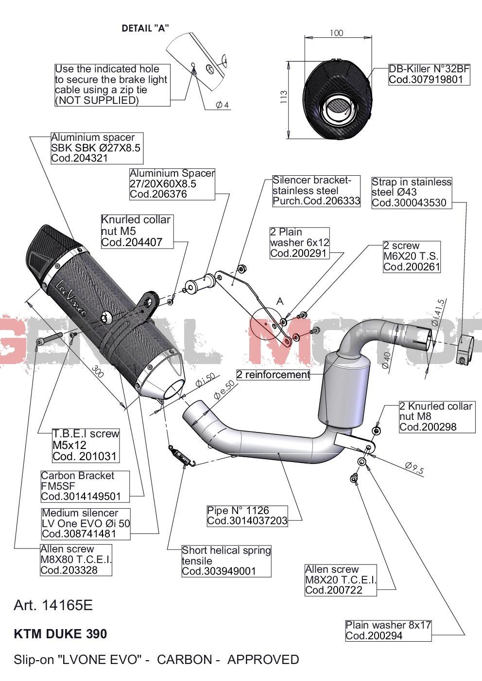 Exhaust Leovince Lv One Evo Carbon Fiber Ktm Duke 390 2013 > 2016