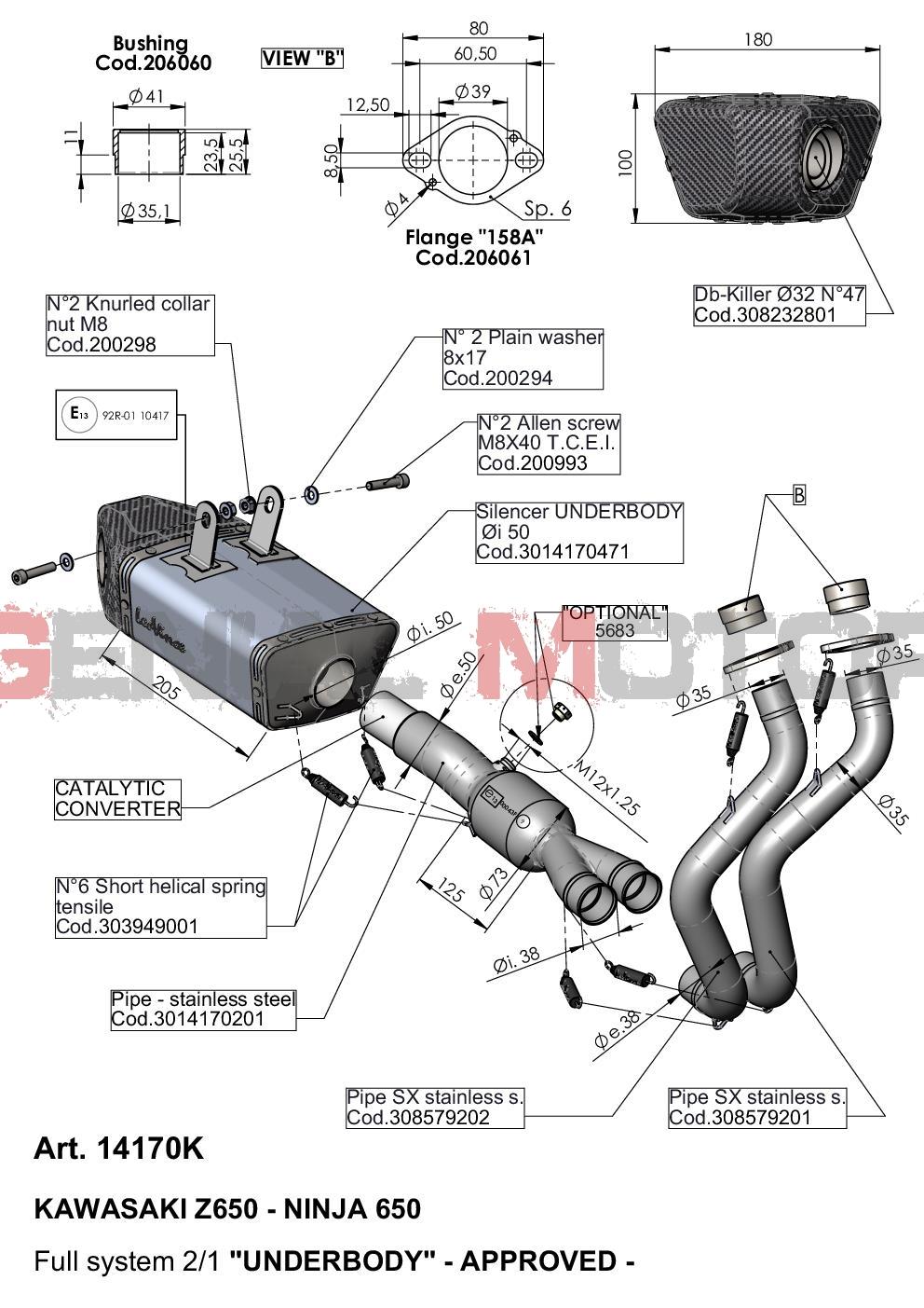 14170K Echappement Complete Kat Leovince Underbody Acc Kawasaki Z 650 2017 > 2021