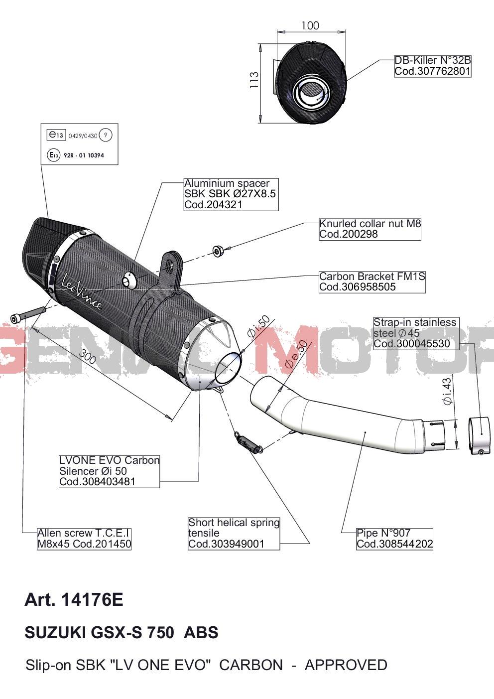 14176E Pot D'Echappement Lv One Evo Carbone Suzuki Gsx S 750/Z Abs 2017 > 2020