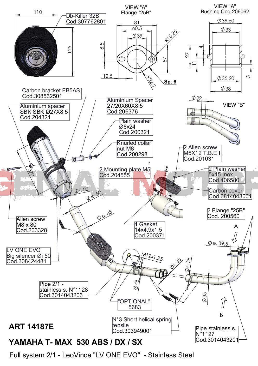 14187E Echappement Complete Leovince Lv One Evo Yamaha Tmax 530 Abs/Dx/Sx 2017 > 2020