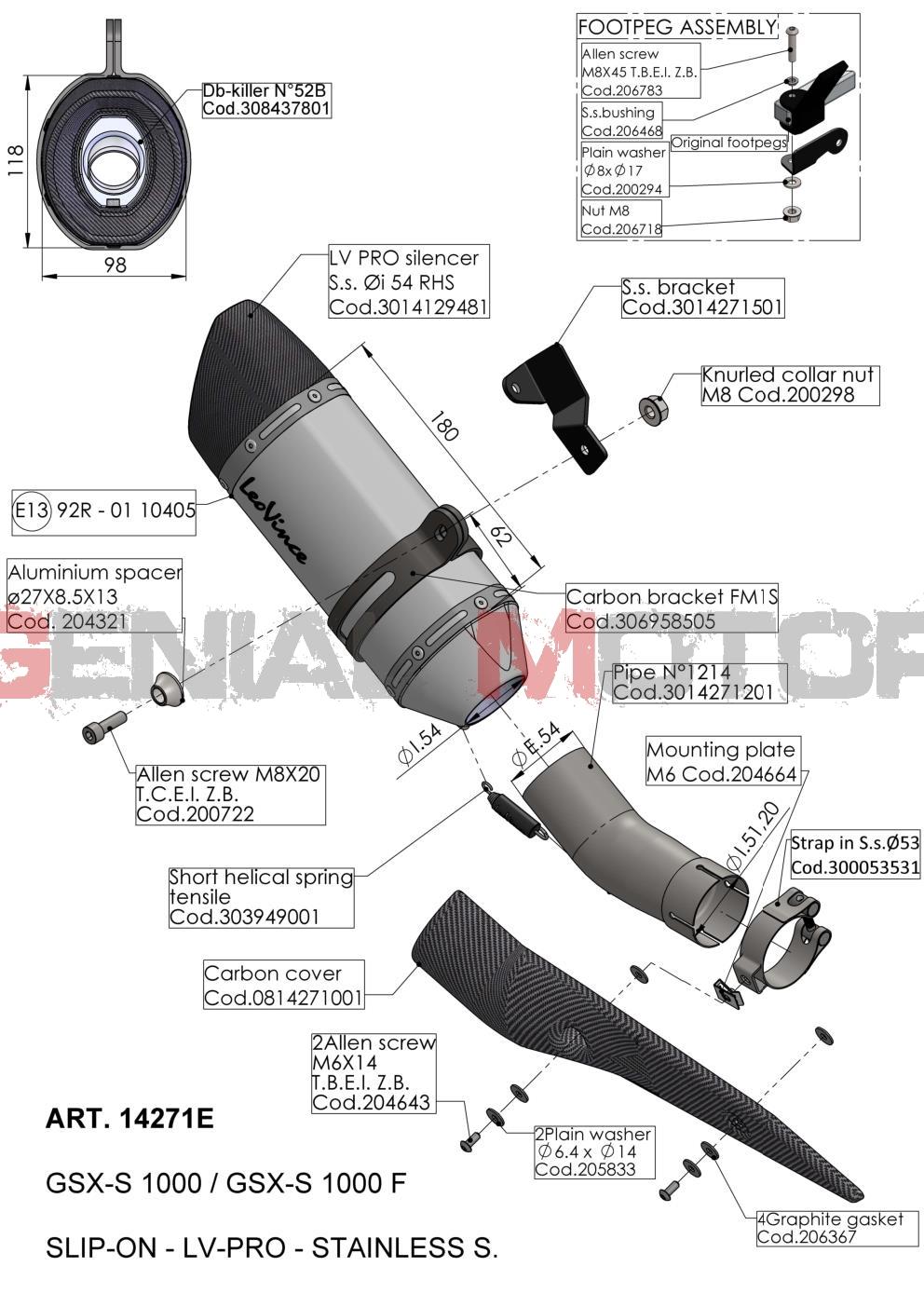 14271E Pot D'Echappement Lv Pro Acier Suzuki Gsx S 1000 F 2017 > 2020