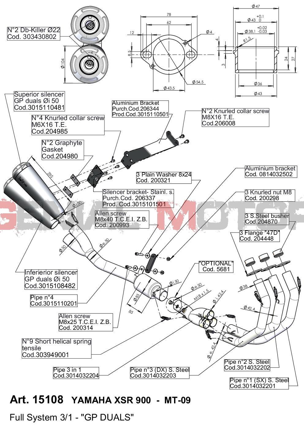 15108 Pot D'Echappement Complete Leovince Gp Duals Yamaha Mt 09/Fz 09/Abs 2013 > 2016