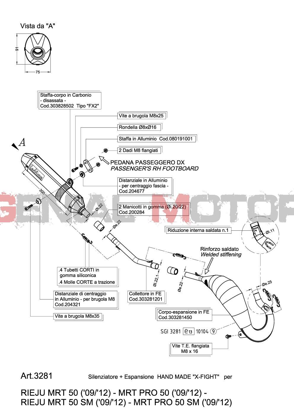 3281 Echappement Complete Leovince X-Fight Acier Rieju Mrt 50/Pro/Sm 2009 > 2012
