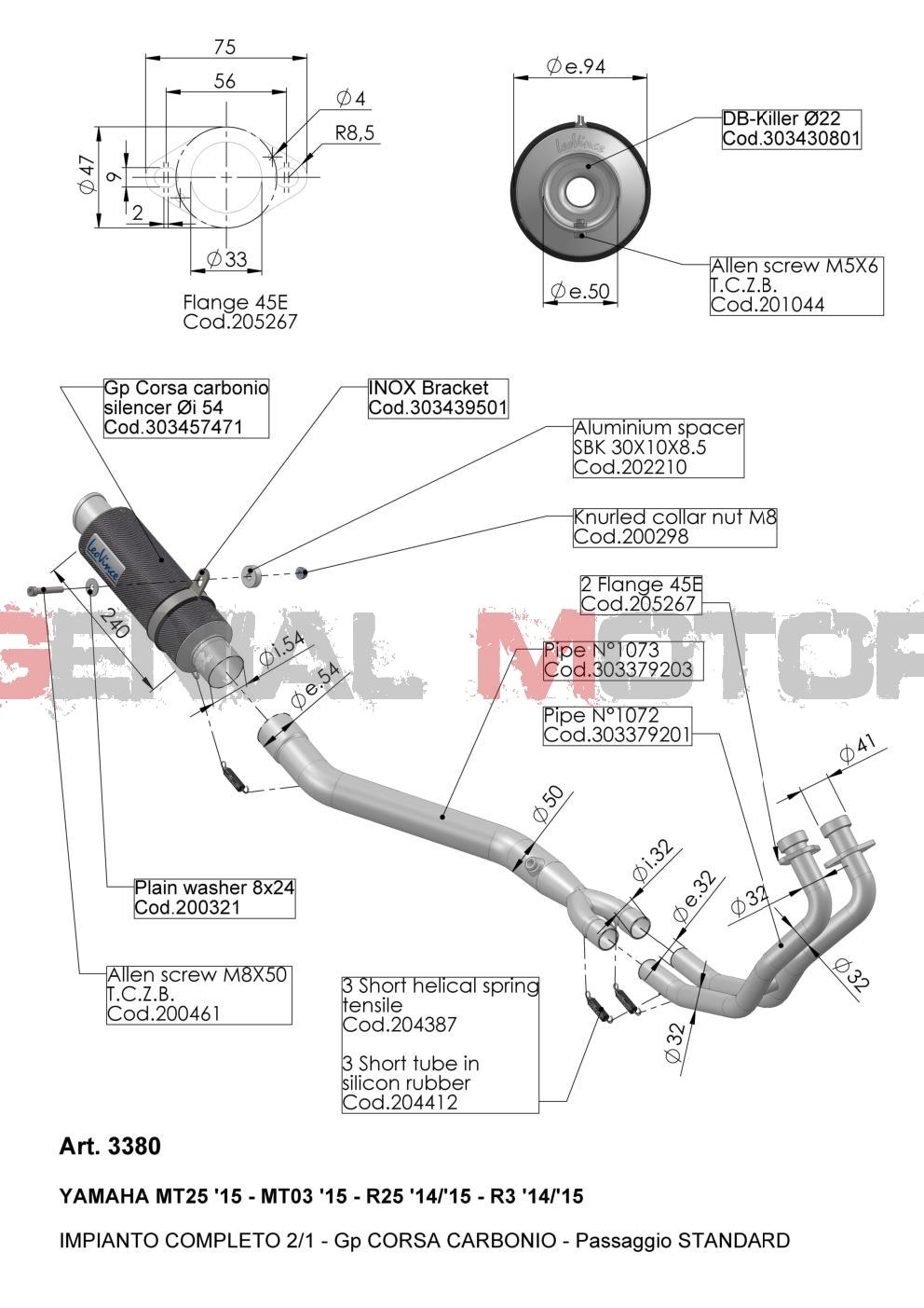 3380 Pot D'Echappement Complete Leovince Gp Corsa Carbone Yamaha Yzf R25 2014 > 2021