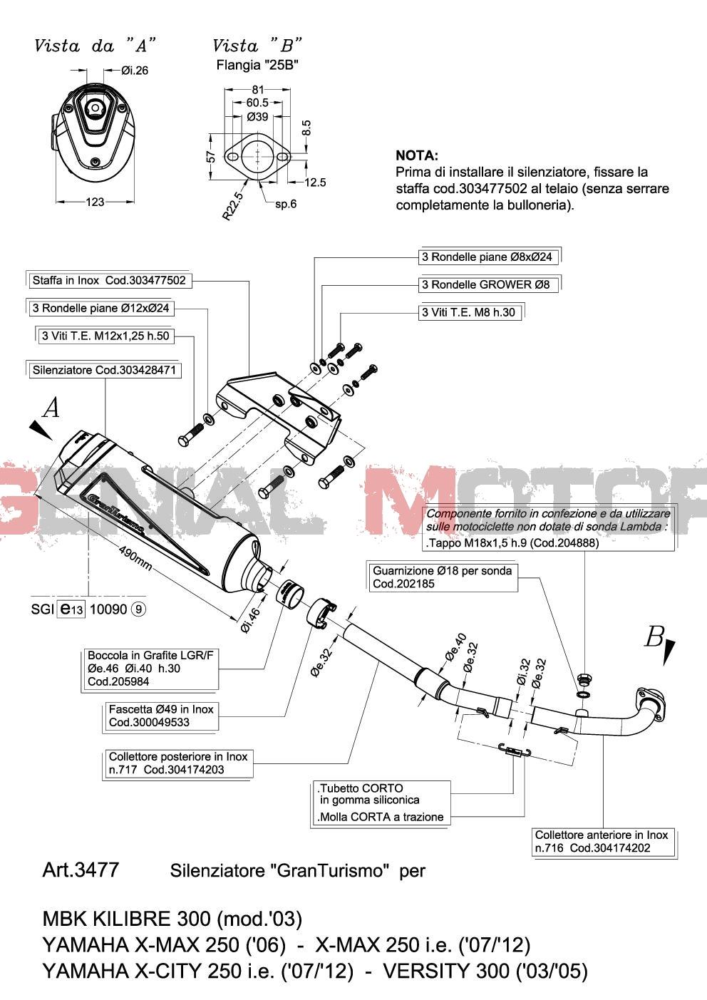 3477 Pot D'Echappement Complete Leovince Granturismo Yamaha Versity 300 2003 > 2005