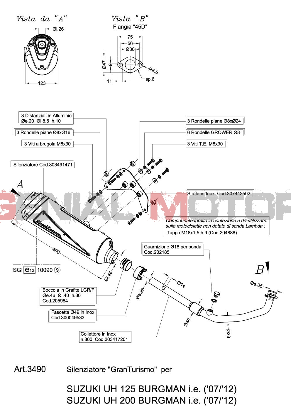 3490 Echappement Complete Leovince Granturismo Suzuki Uh 200 Burgman 2007 > 2013