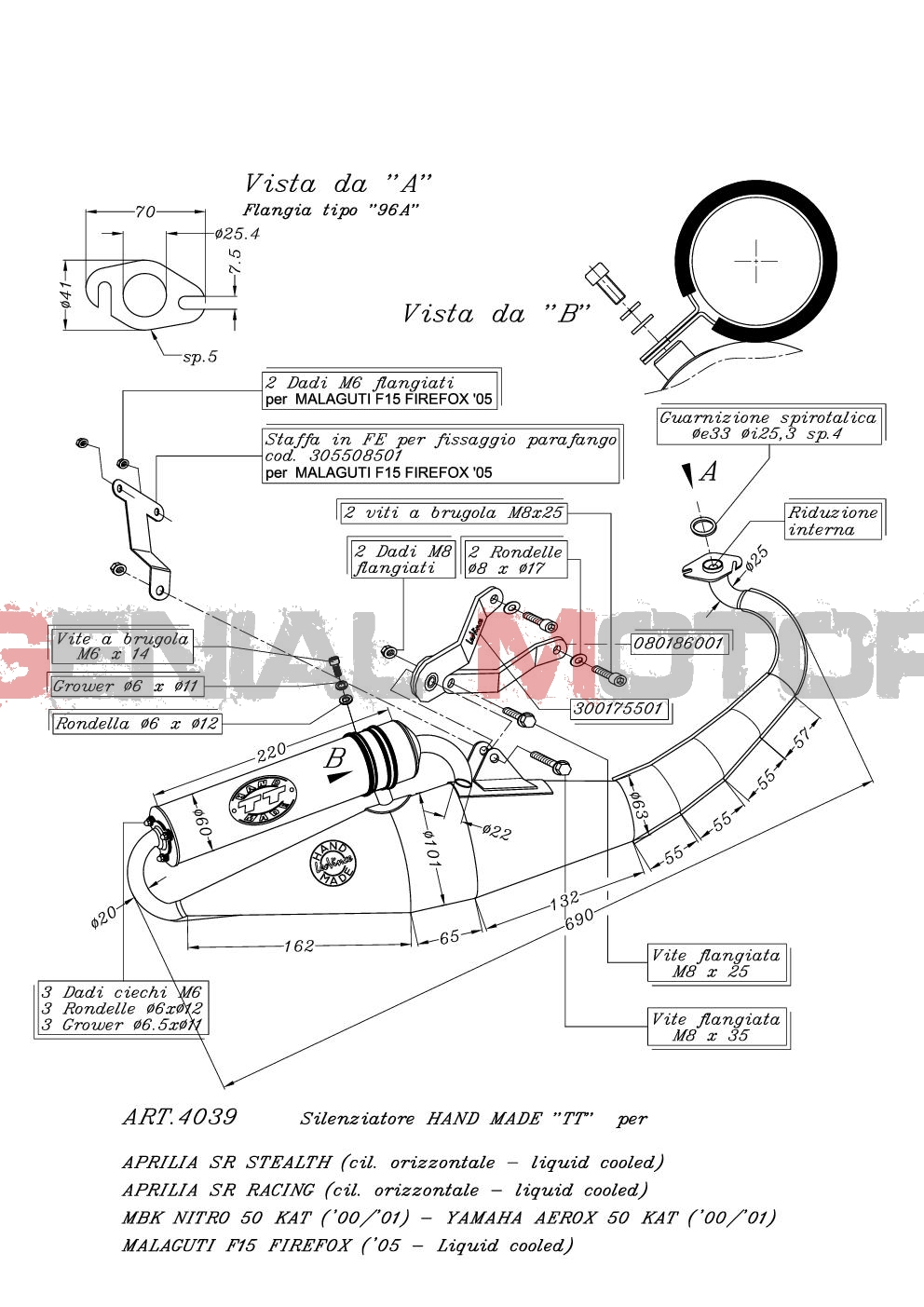4039 Pot D'Echappement Complete Leovince HM Tt Alu Yamaha Aerox 50 Kat 2000 > 2001