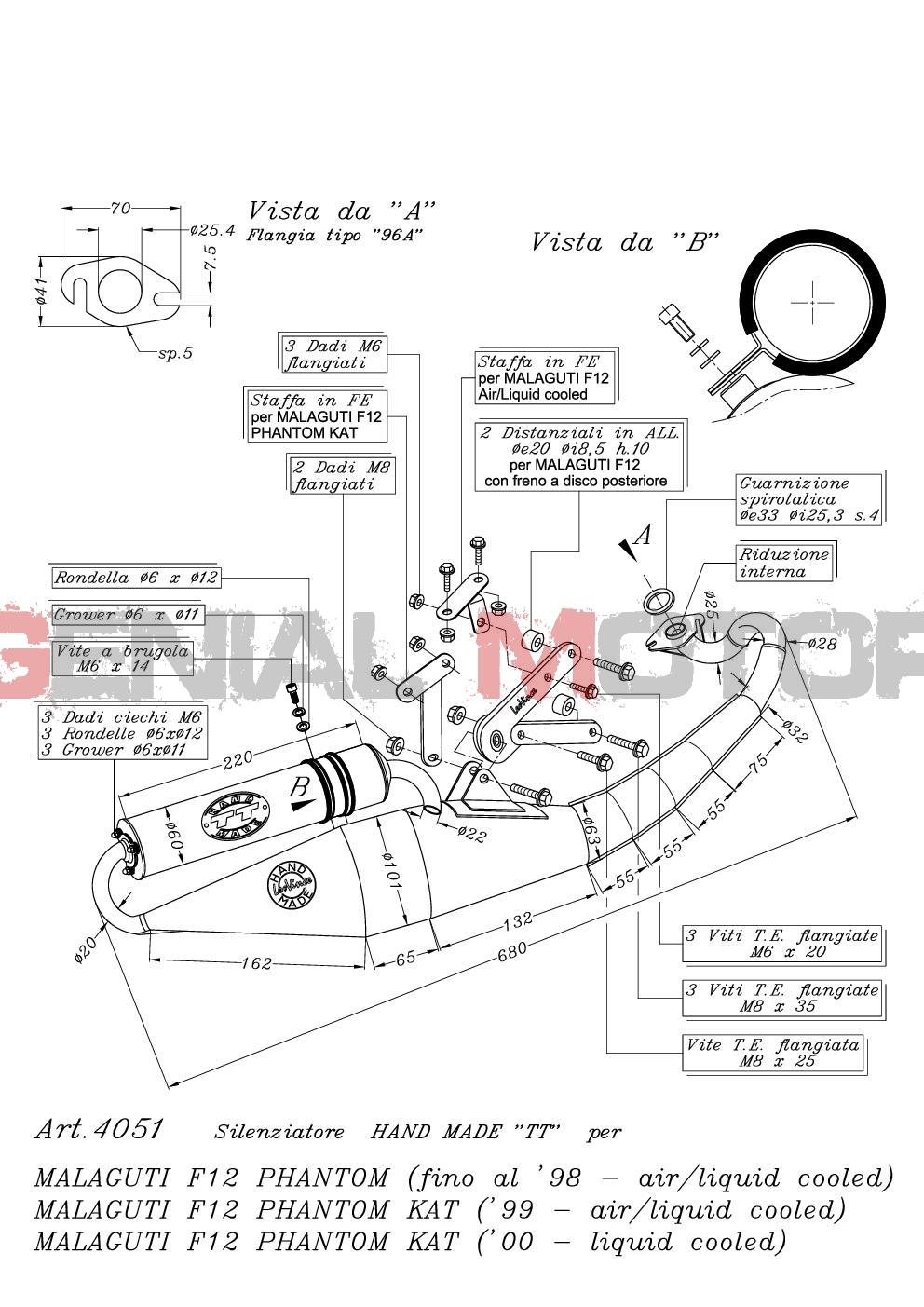 4051 Pot D'Echappement Complete Leovince HM Tt Alu Malaguti F12 Phantom 1994 > 1998
