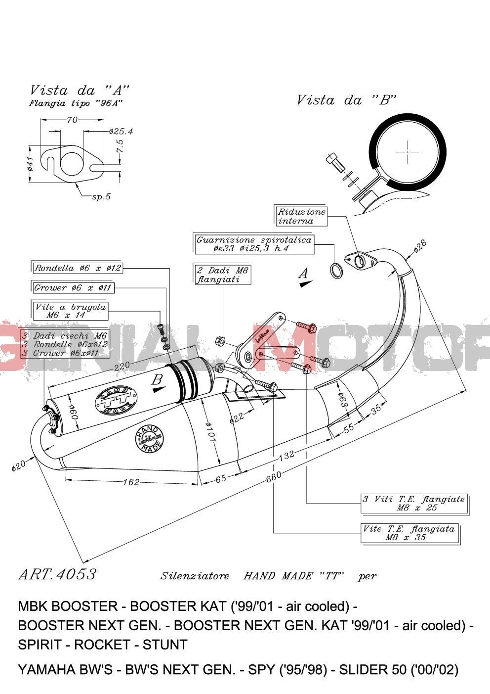 4053 Pot D'Echappement Complete Leovince Hand Made Tt Alu Yamaha Slider 2000 > 2002