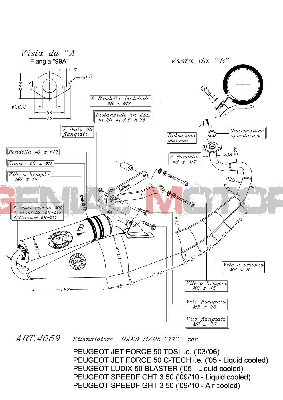 4059 Echappement Complete Leovince HM Tt Alu Peugeot Ludix Blaster 50 2005 > 2006