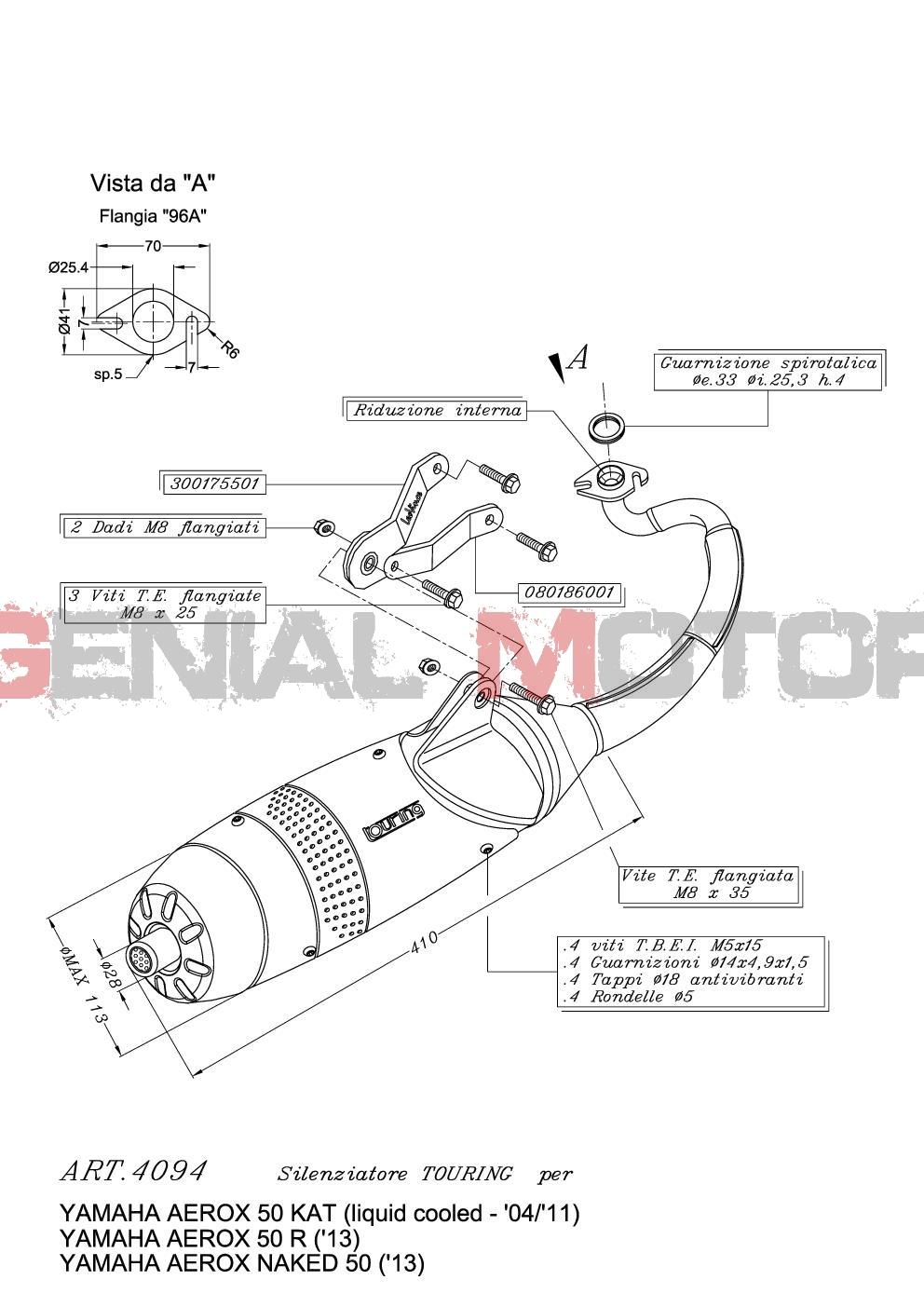 4094 Pot D'Echappement Complete Leovince Touring Yamaha Aerox 50 Kat 2004 > 2012