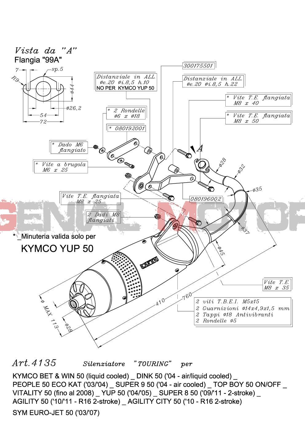 Full Exhaust Arrow Extreme Aluminium Black Kymco Super 8 2T 50 Cc 2007 /> 2013
