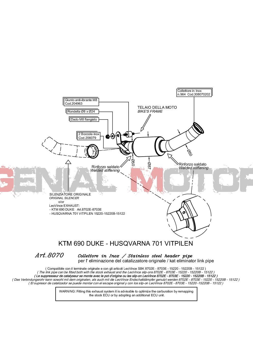 8070 Kit link pipe Leovince SBK eliminating the kat KTM 690 DUKE