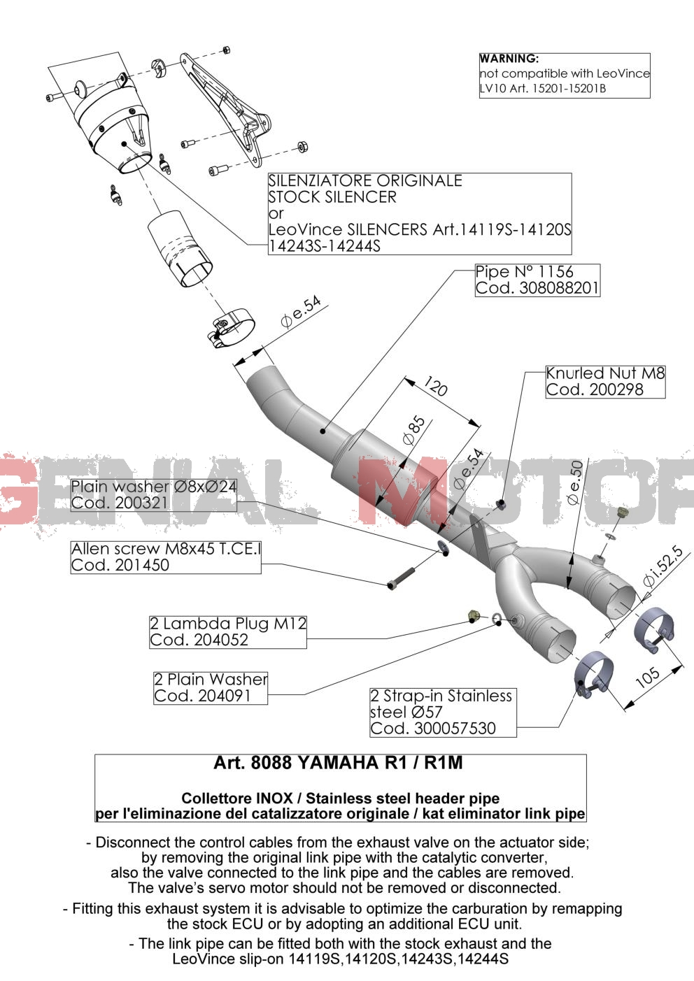 8088 Connecteur Elimine Catalyseur Leovince Yamaha Yzf R1/M 2015 > 2016