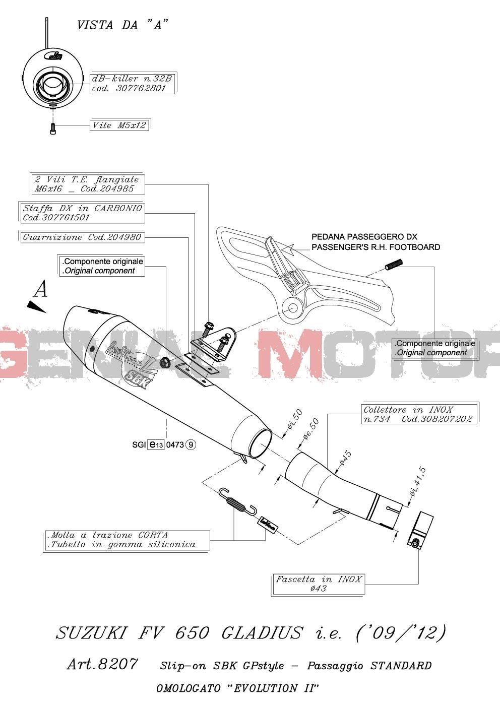 8207 Pot D'Echappement Gp Style Acier Suzuki Sfv 650 Gladius 2009 > 2015