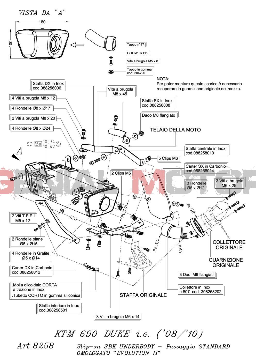 8258 Pot D'Echappement Underbody Acier Ktm 690 Duke R Lc4 2009 > 2011