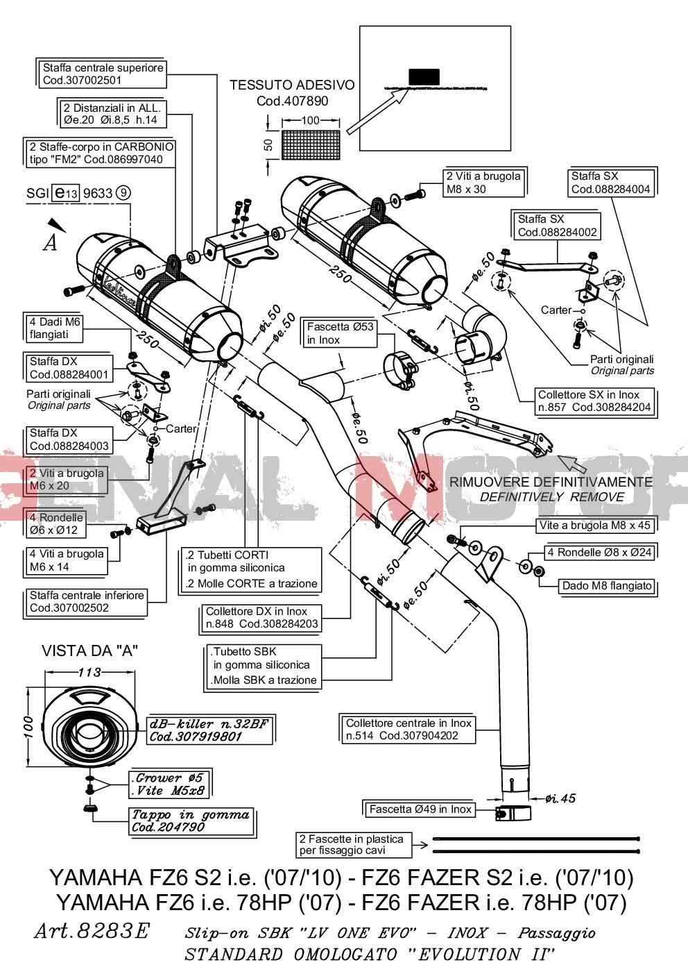 8283E 2 Pots D'Echappement Leovince Lv One Acc Yamaha Fz6 Fazer S2/Abs 2007 > 2011