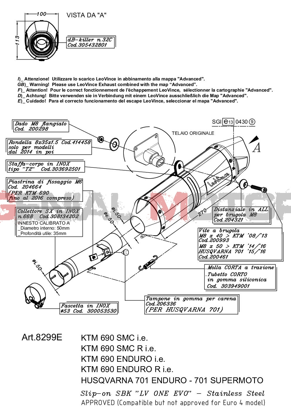 8299E Exhaust Leovince Lv One Evo Stainless Steel Husqvarna 701 Supermoto 2017 > 2020