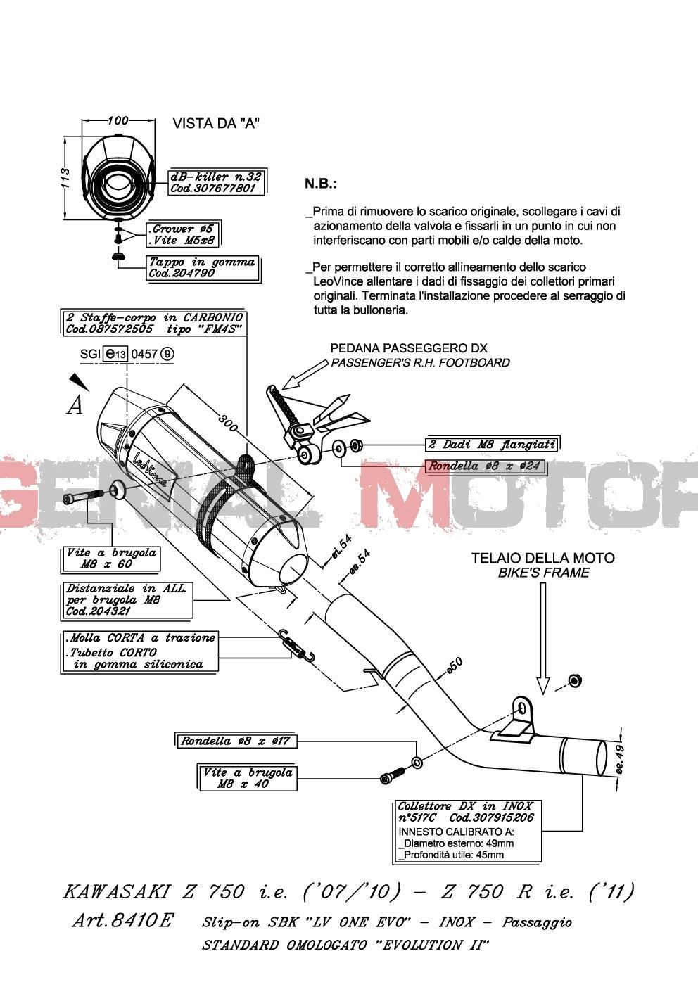 8410E Pot D'Echappement Lv One Evo Acier Kawasaki Z 750 R 2011 > 2014