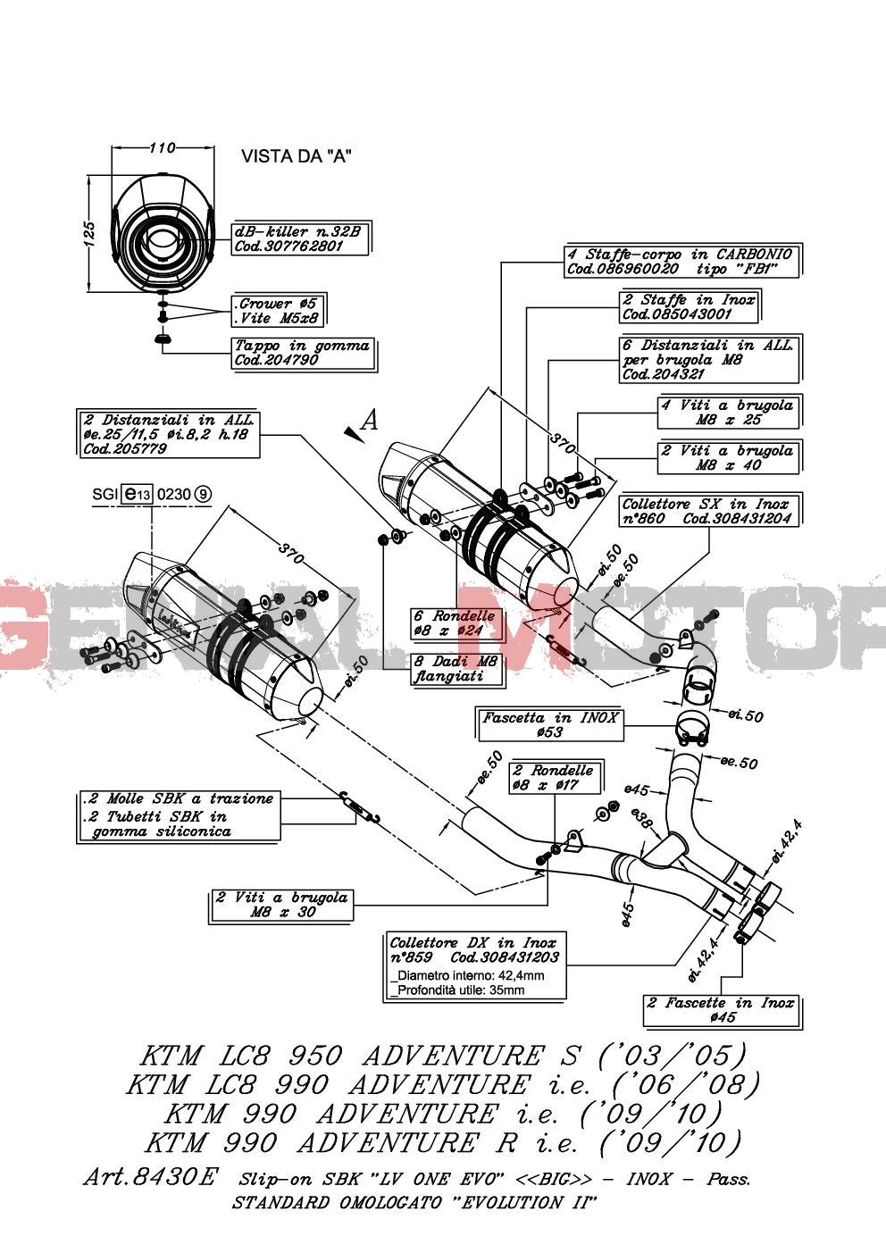 8430E 2 Terminali Scarico Leovince Lv One Evo Acc Ktm 950 Lc8 Adventure S 2003 > 2005