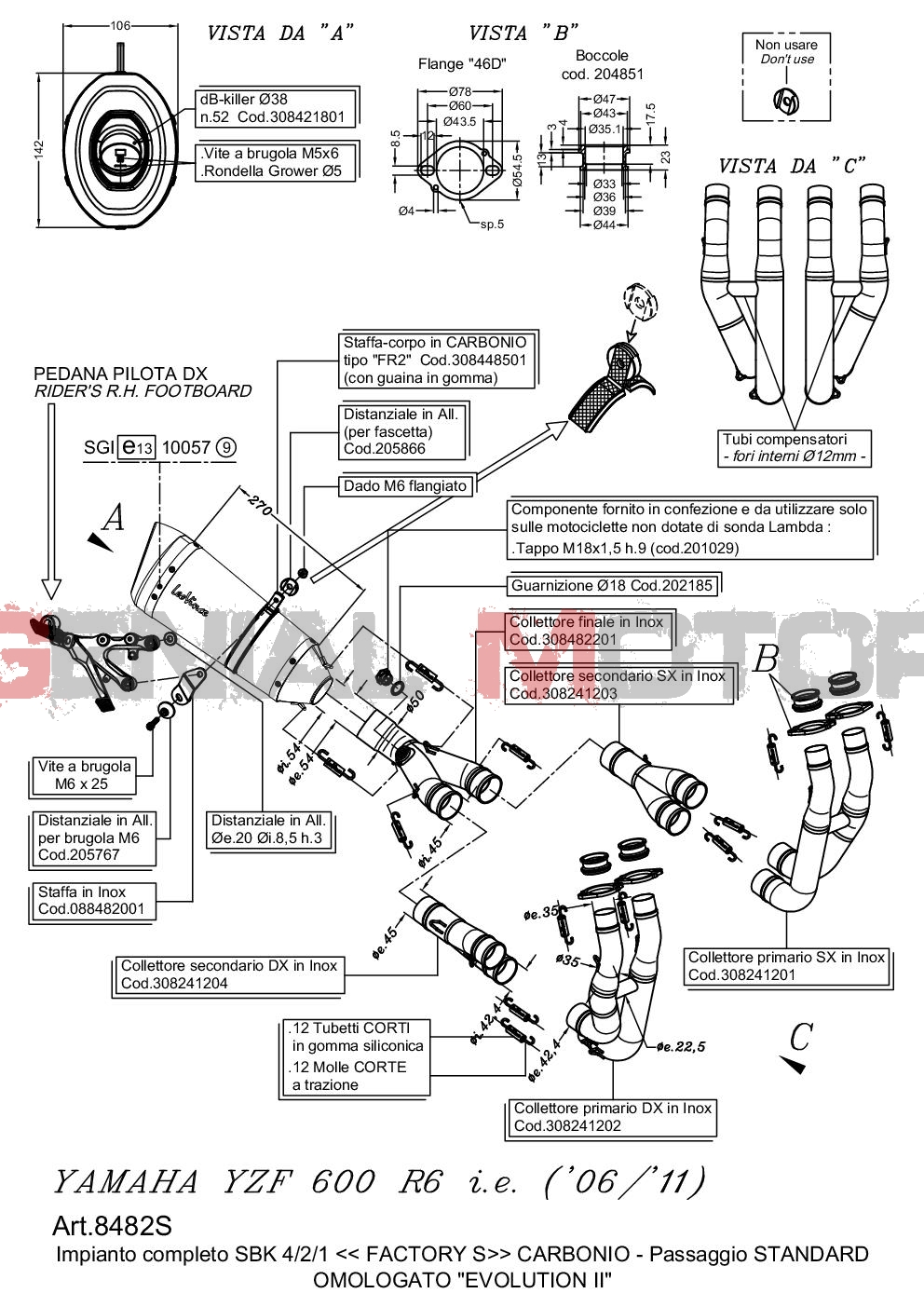 Complete Exhaust System Leovince Factory S Carbon Yamaha Yzf R6 2006 > 2016