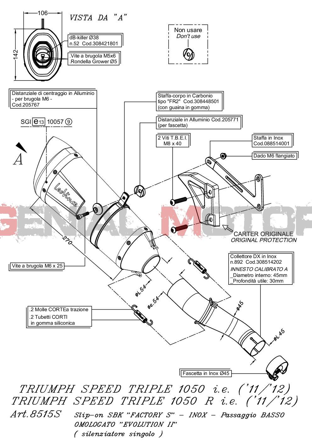 8515S Pot D'Echappement Factory S Acier Triumph Speed Triple 1050/R 2011 > 2013